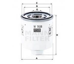 Olejový filtr MANN W7038 - 1 ks